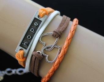 Infinity Bracelet , Hope n Love Orange n Chocolate Suede Charm Infinity Bracelet By: Tranquilityy