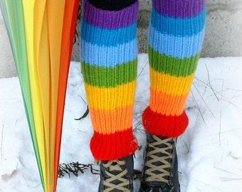 Rainbow Multicolor Knit Ribbed Pattern  Long Adult Rainbow Leg Warmers