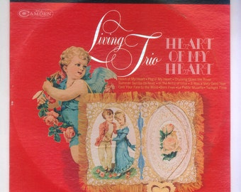 Valentine's Day LP Heart of My Heart played by the Living Trio Vintage Vinyl Record Album Organ, Accordion and Guitar