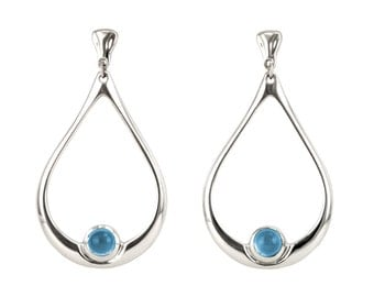 Sterling Silver Hoops, Big Silver Hoop Earrings, Simple Blue Gemstone Earrings