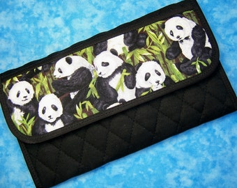 Women Wallet - Fabric Wallet Vegan Wallet Panda Large Trifold Wallet Quilted Wallet Cloth Wallet Ladies Wallet Black Checkbook Wallet Velcro