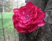 Fuschia Satin Flower Hair Clip
