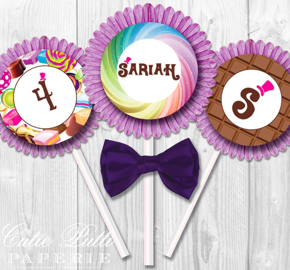 "Willy Wonka Party Cupcake Toppers, 2"" Custom Party Squares By Cutie Putti Paperie"