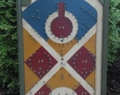 Primitive Wood Pinball Game Board Folk Art Antique Reproduction gameboard