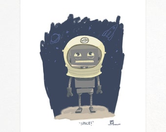 11x14 Space robot print