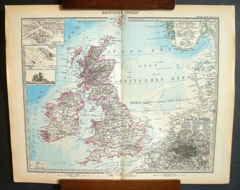 Antique Map of The British Isles from the 1800's in German