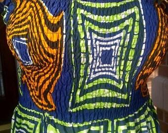 African Print Strapless Smocked Dress/Skirt/Top