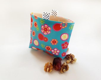 Snack Bag / Reusable Sandwich/ Eco Friendly  Flowers on Turquoise