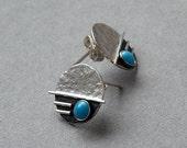 Sterling silver studs with turquoise - Sterling silver post earrings - Gemstone earrings - Silver jewellery - Handmade earrings