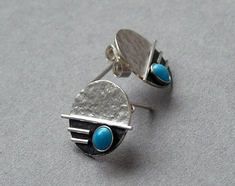 Sterling silver stud earrings with turquoise.  Sterling silver post earrings. Gemstone earrings. Silver jewellery. Handmade. MADE TO ORDER.