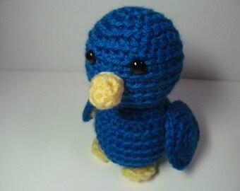 Stuffed Crochet Bird, Plush Bright Blue Bird, Toddler Boy Cute Feathered Animal Doll Amigurumi Toy Easter Gift under 10
