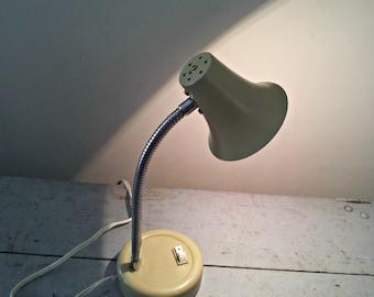 Vintage Industrial Gooseneck Task Lamp - Putty Metal Bell Desk Light