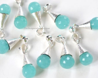 Aqua Chalcedony Tear Drop Sterling Silver Cone with Crystal Gemstone Pendant