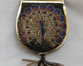 30s Austrian Gold Peacock Embroidered Silk Faille Powder Purse Compact