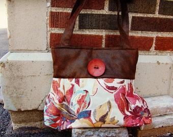 Vibrant floral Handbag Purse Everyday Bag : Persian Watercolor