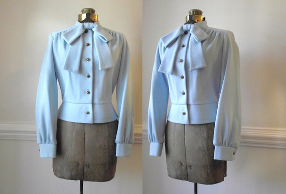 50s Blouse / 1950s Peplum Ascot Bow Shirt / Powder Blue