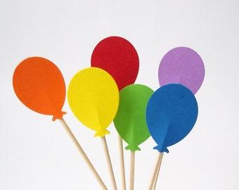 24 Rainbow Balloon Party Picks, Cupcake Toppers, Food Picks, Sandwich Picks, Toothpicks - No656