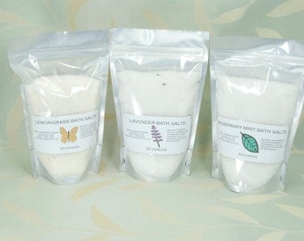 Aromatherapy Bath Salts - Set of Three 20 ounce bags of Essential Oil Bath Salts