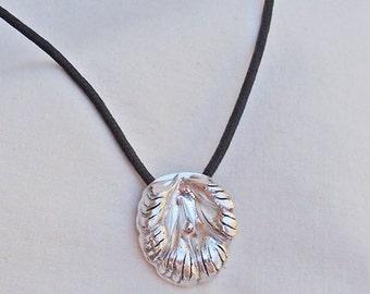 Flower Pendant in Fine Silver Handmade