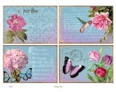 Digital Collage Sheet GARDEN BEAUTY Vintage Rose Hummingbird Tulips Instant Download Scrapbooking Paper Crafts Cards Tags GalleryCat CS215