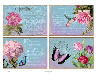 Digital Collage Sheet GARDEN BEAUTY Vintage Rose Hummingbird Tulips Instant Download Scrapbooking Paper Crafts Cards Tags GalleryCat CS215