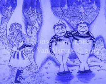 Alice in Wonderland Art, Tweedle Dee and Tweedle Dum artwork 10 x 8 print, Tim Burton Inspired, proceeds to Alzheimer's Association