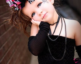 Hot Pink, Black, and Zebra Over the Top Boutique Bow Headband