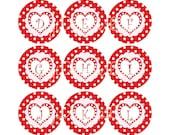 Valentine Initials Bottlecap Image Sheet Red White Polka Dot Pink Heart Fun Monogram Initial Bottlecap Alpha Initials Set INSTANT DOWNLOAD