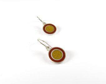 Sterling Silver Earrings, Color Circles, Maroon and Mustard
