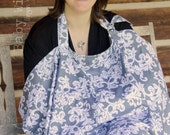 Nursing Cover Grey White Oversize Breastfeeding Cover - Gray Flourish
