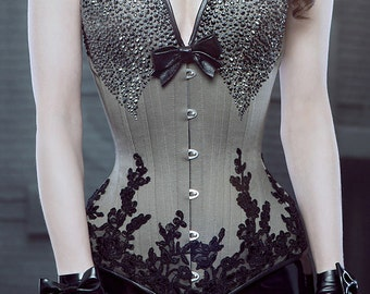 PUIMOND PY11 Long Overbust Swarovski Coutil Corset w/ French Lace Size 20 NEW In-stock