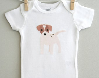 Baby clothes, jack russell baby bodysuit. Short or long sleeve. Your choice of size.