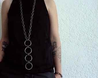 Heavy Circles Long Gunmetal Necklace - geometric necklace - black metal necklace - statement necklace - industrial necklace