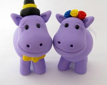 Hippo love, wedding cake topper