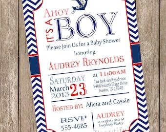 Chevron Ahoy it's a boy baby shower invitation, red, blue, anchor, nautical, printable invitation - nautical1