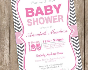 Girl baby shower invitation, chevron, pink and grey baby shower invitation, pink, grey, digital, printable20121214-K1-1