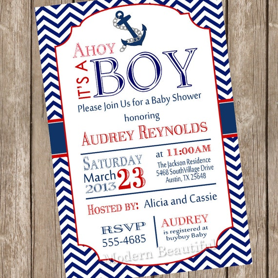 Chevron Ahoy It S A Boy Baby Shower Invitation Red Blue