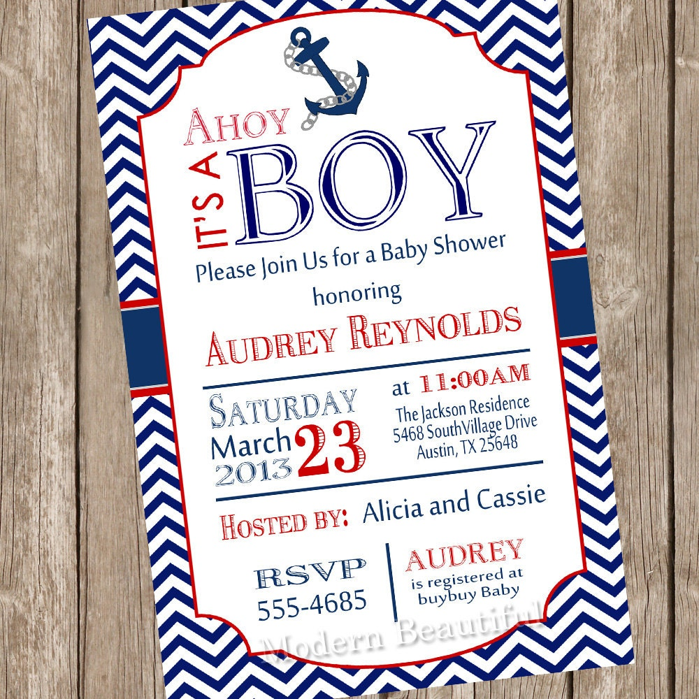 chevron ahoy it 39 s a boy baby shower invitation red blue