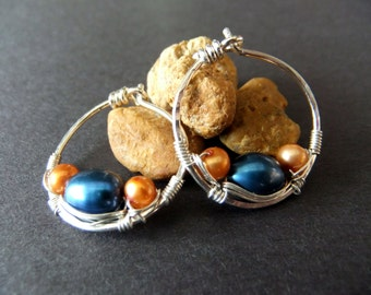 Small Wire Wrapped Hoops Royal Blue and Orange Fresh Water Pearl Combo Sterling Silver Hoop Earrings Pop of Color Funky Cute Fun