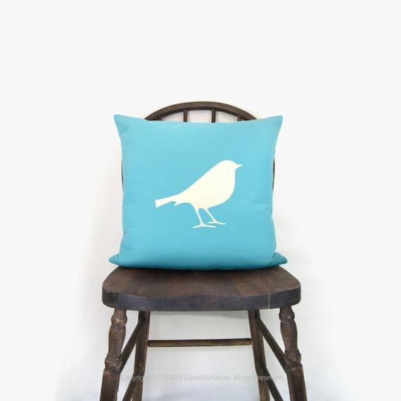 SALE || Blue outdoor pillow cover - Garden decor - Summer decorations - Bird applique in white and aqua accent pillow - 18x18 throw pillows