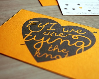 "Funny wedding invitation suite / yellow engagement invitations/ ""FYI we are tying the knot"""