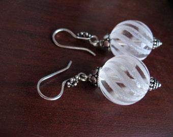 Gorgeous Heavy Natural Rock Crystal In Antique Sterling Silver Laser Cut Ball Earrings