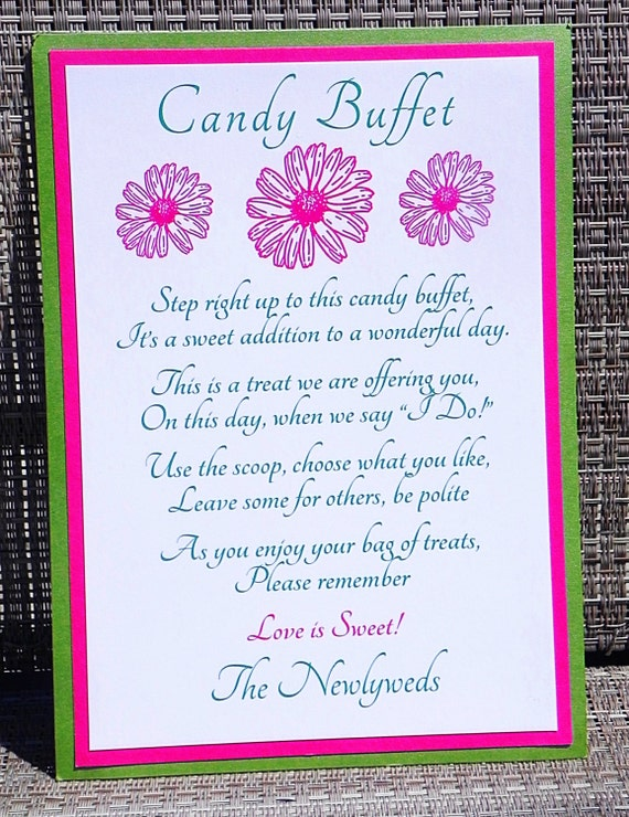 Items Similar To Printable Wedding Candy Buffet Table Sign
