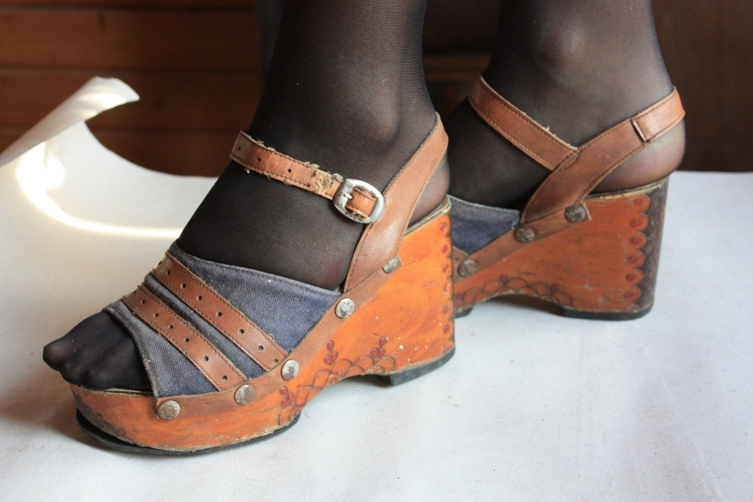 Vintage Wood Platform Shoes Genuine 1970s platforms 70s
