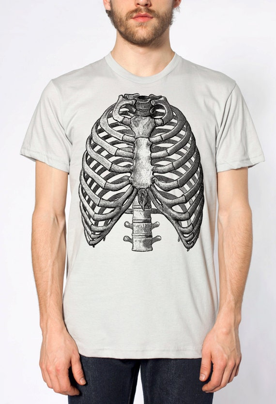 Mens Vintage Ribs Anatomy T Shirt American Apparel Silver