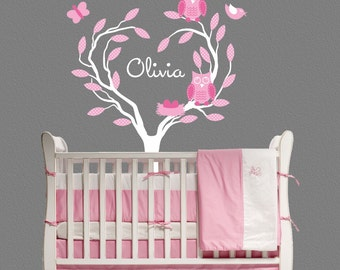 Owl Tree Wall Decal Kids Personalized Nursery Decor baby OHSC