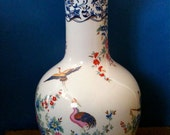 Tall White Vase / Vintage Center Piece / with Birds and Flowers /  English Shop