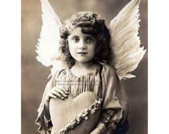 Angel Greeting Card - Valentine Card - Little Girl with Wings and Heart