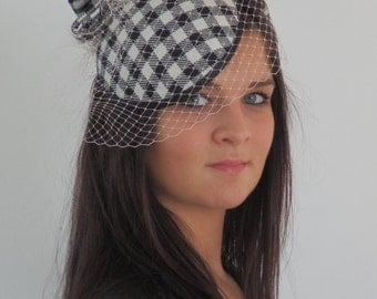 Dutch design off-white black gingham hat with optional veiling included on aliceband