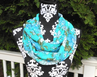 Blue and White Flowers on Teal Green Voile Scarf